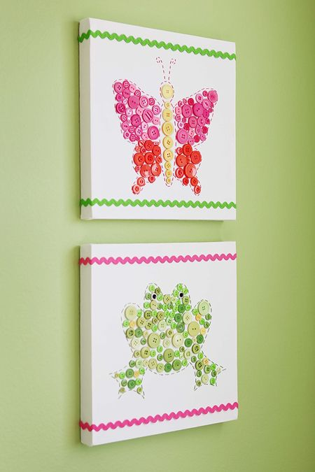 Easy DIY Animal-Button Canvases for Kid's Rooms